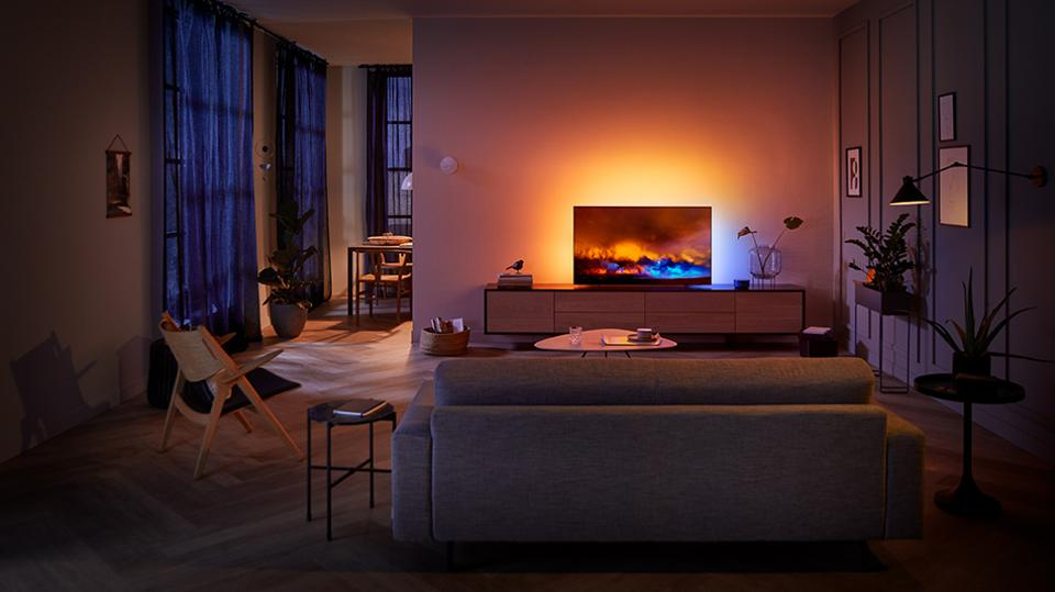 Philips OLED804 TV in a living room at night