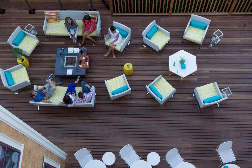 The deck at 21 Broad is a favorite gathering place for guests.