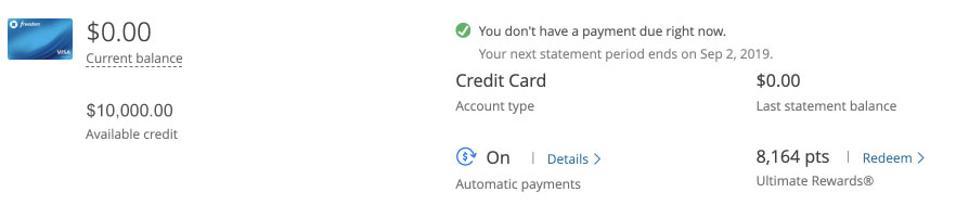 credit card account balance.