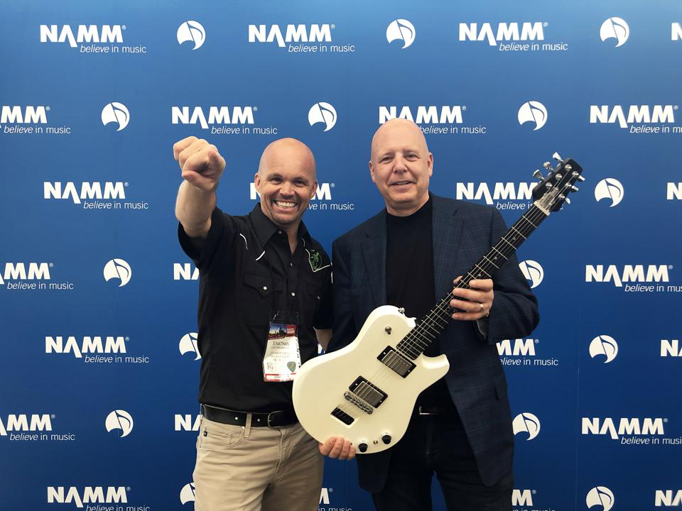 """A guitar that could fold in half and fit in a backpack or carry-on, but still has the quality, """"look, feel and play"""" of a traditional electric guitar."""
