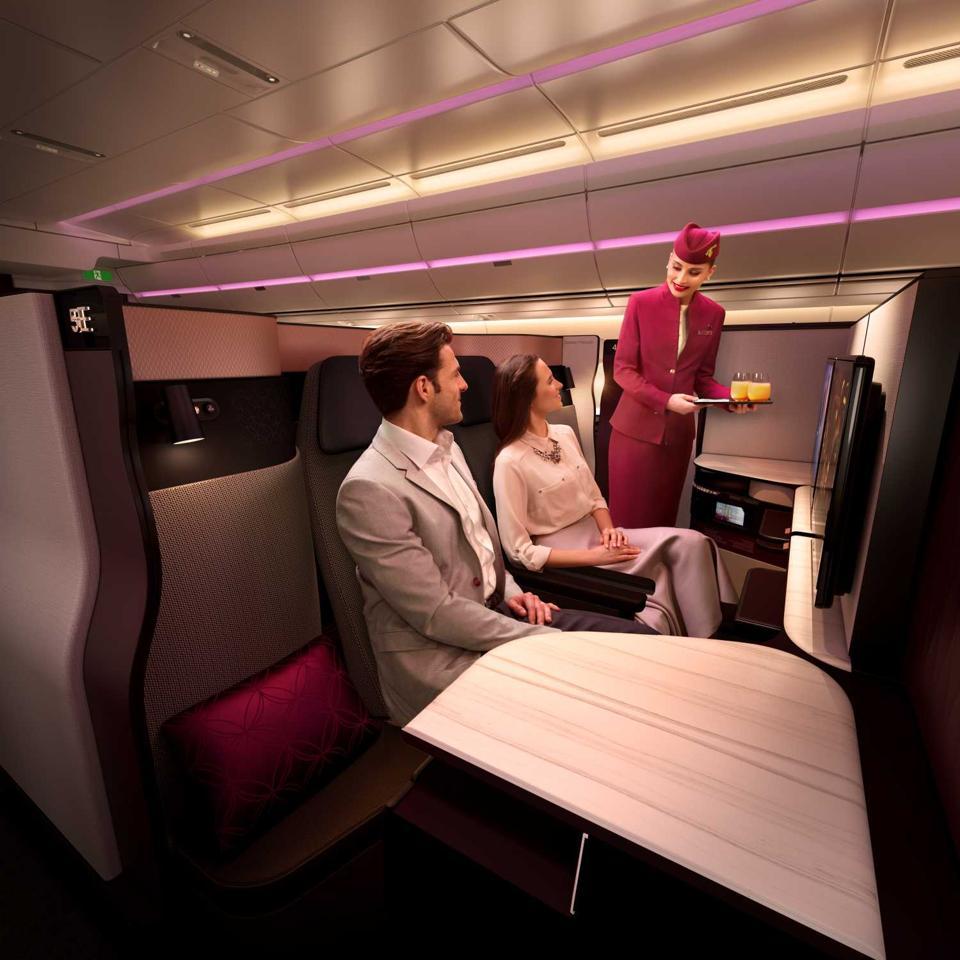 Qatar Airways.  Business class. Dining.