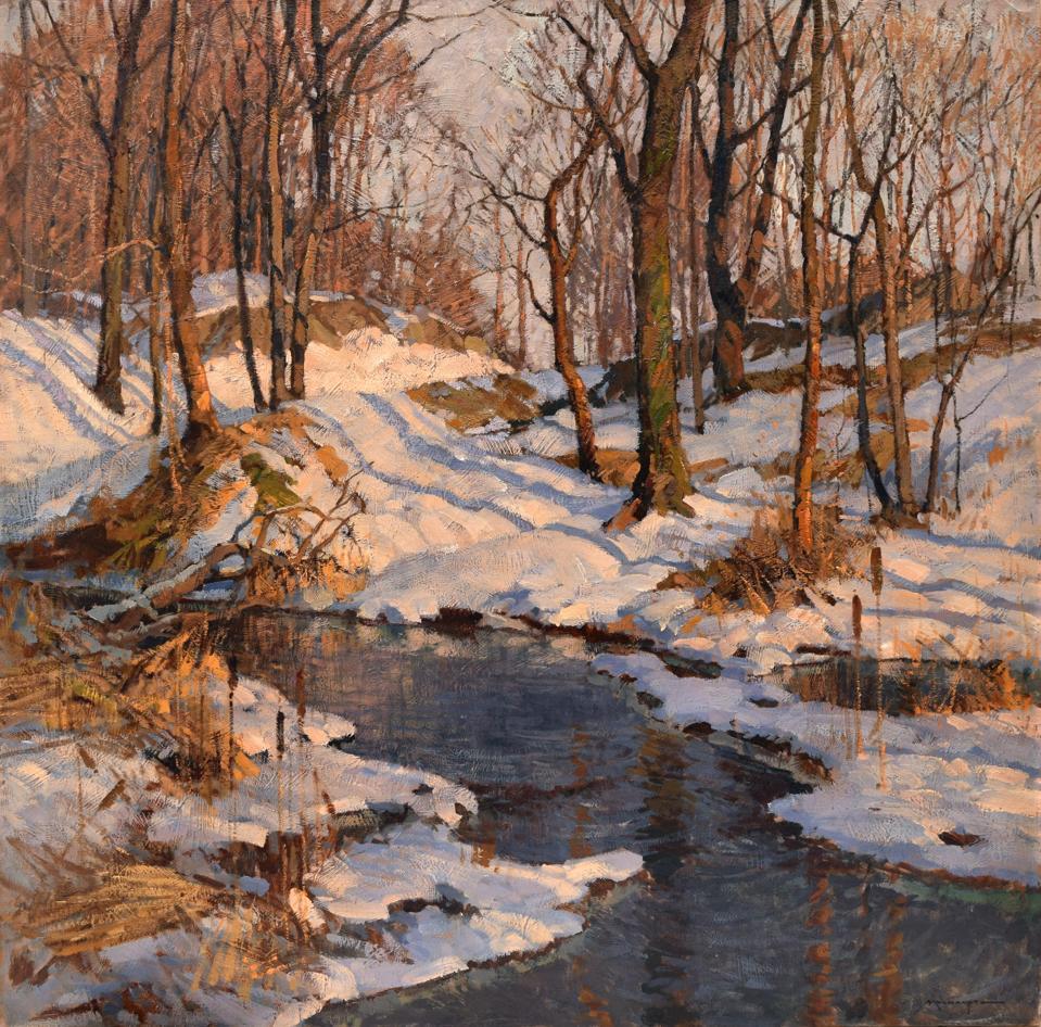 Frederick John Mulhaupt (American, 1871 – 1938), February's Sun, c. 1925, oil on canvas, 36 x 36 inches, Gift, Ferdinand K. Thun, Henry K. Janssen, and Gustav Oberlaender.