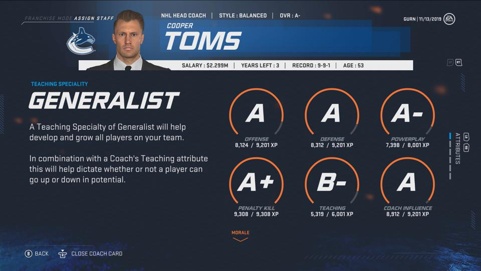 NHL 20 players in Franchise Mode will now choose their own coaches.