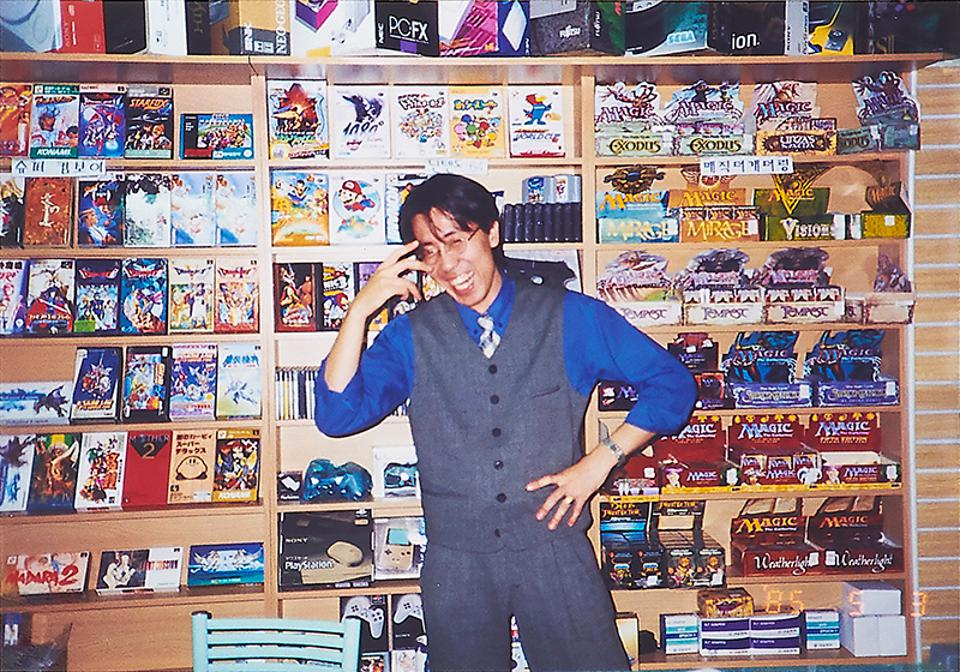 Kim in earlier days at one of his videogame stores in Seoul, circa 1993.