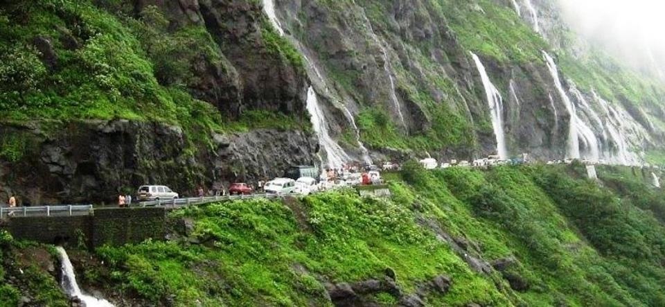 Waterfalls along the roads in the Maharashtra Western Ghats