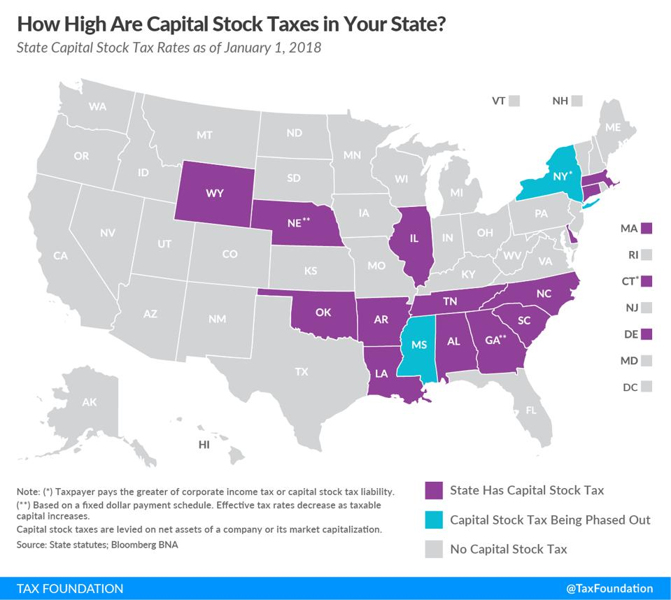 States that impose a capital stock tax, also referred to as a franchise tax.