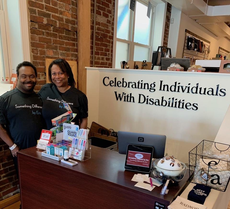 Eric Wells and his mom, Bernadette Wheeler, at Something Different by Eric, a retail gift shop in Bryn Mawr, PA
