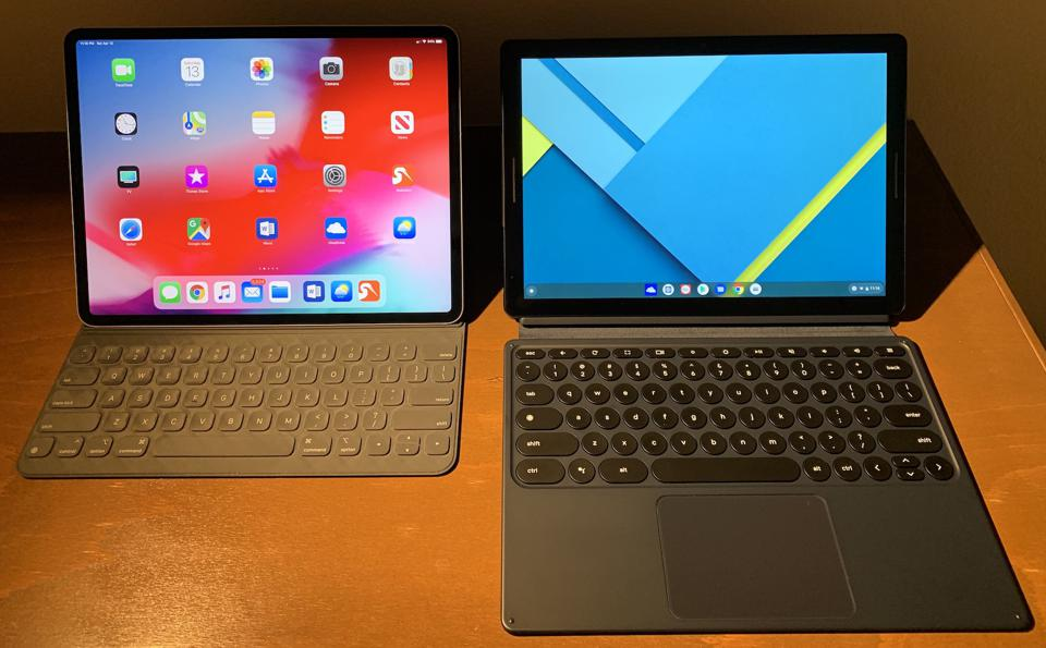 Google Pixel Slate (right) and iPad Pro 12.9 (Late 2018).