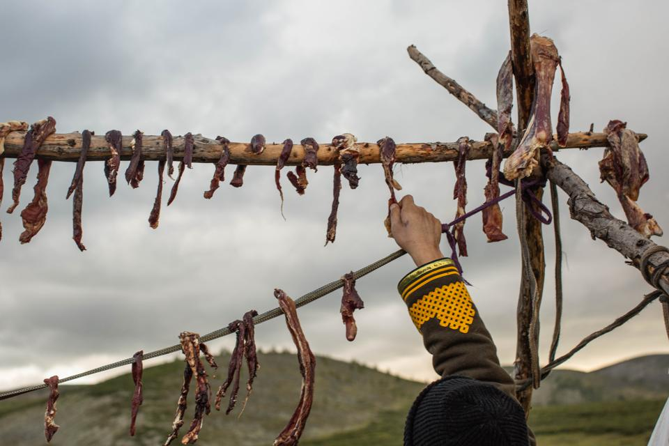Drying Meat, Mongolia