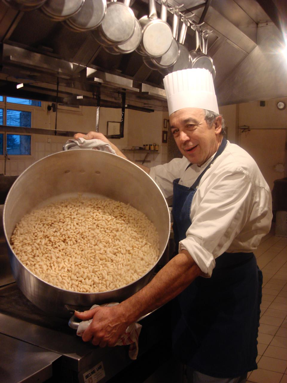 Twice a week, Chef Jean-Claude Rodriguez prepares the beans that will serve as the base for his legendary cassoulet