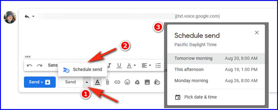 Google Schedule Send for Text SMS Screenshot by TJ McCue
