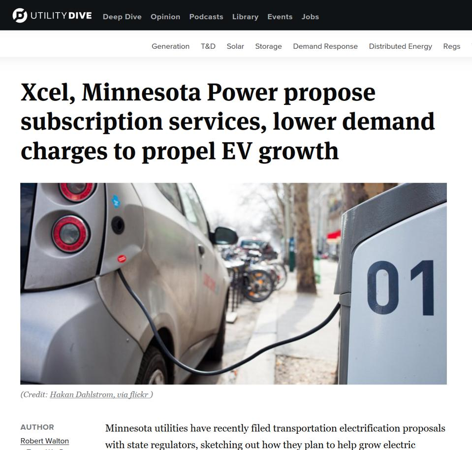 Screen shot of Utility Dive story about the Xcel energy, Minnesota Power EV proposal, Utilitydrive.org