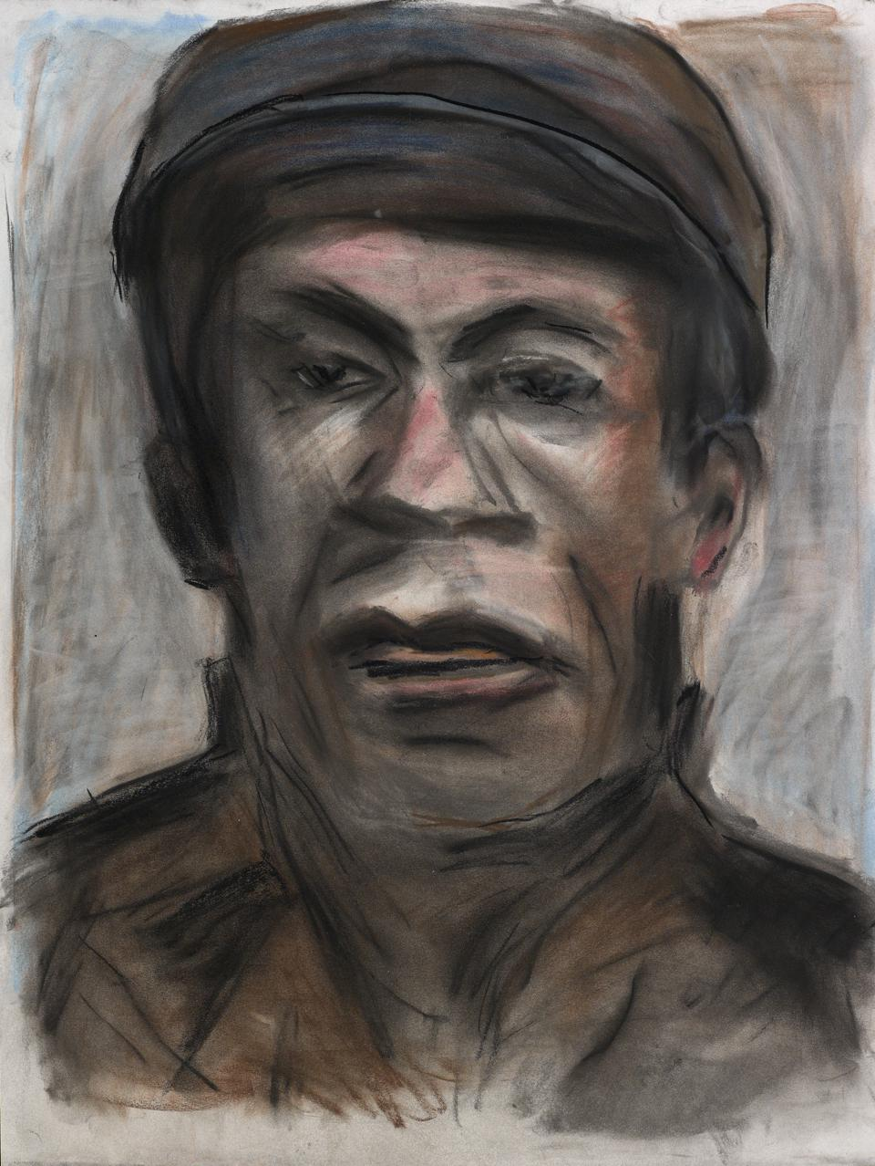 'Skip Sharpe.' A pastel portrait from Bob Dylan's Face Value series.