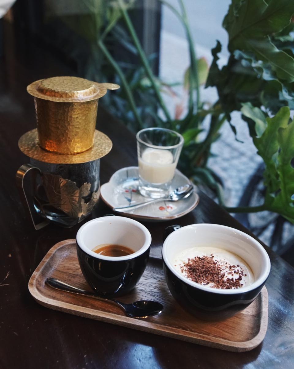 A coffee setup in a Vietnamese specialty cafe