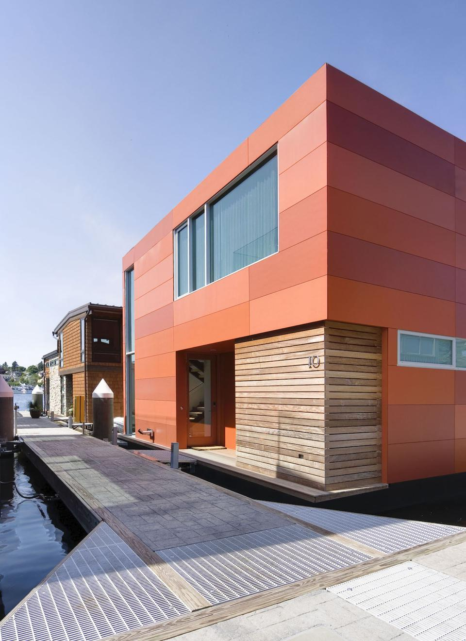 This is a floating home, designed by E. Cobb Architects, on Lake Union Washington.