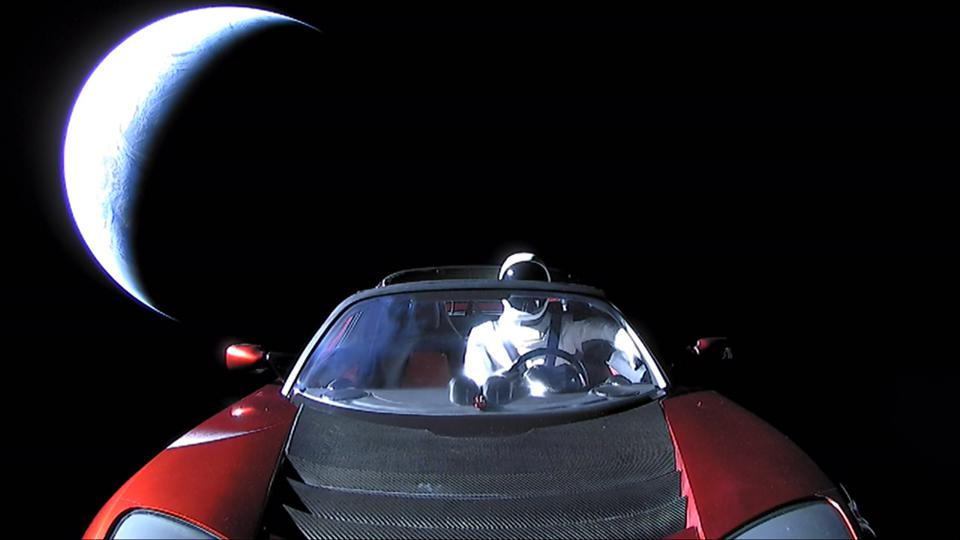 Starman driving the Tesla Roadster in deep space