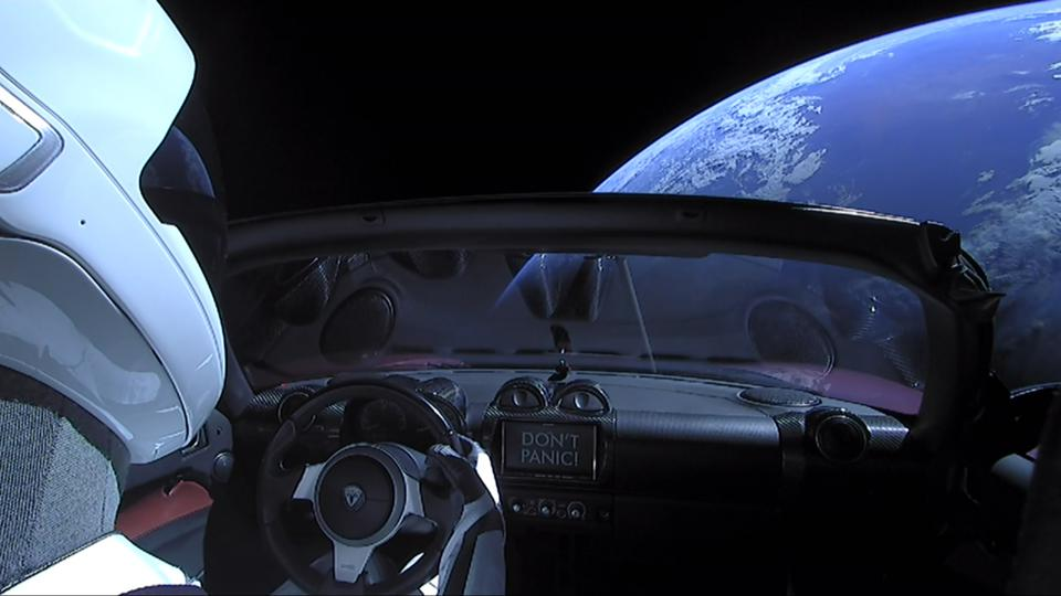 The view from Starman's Tesla Roadster.