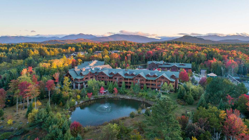 An aerial view of Whiteface Lodge in the fall.