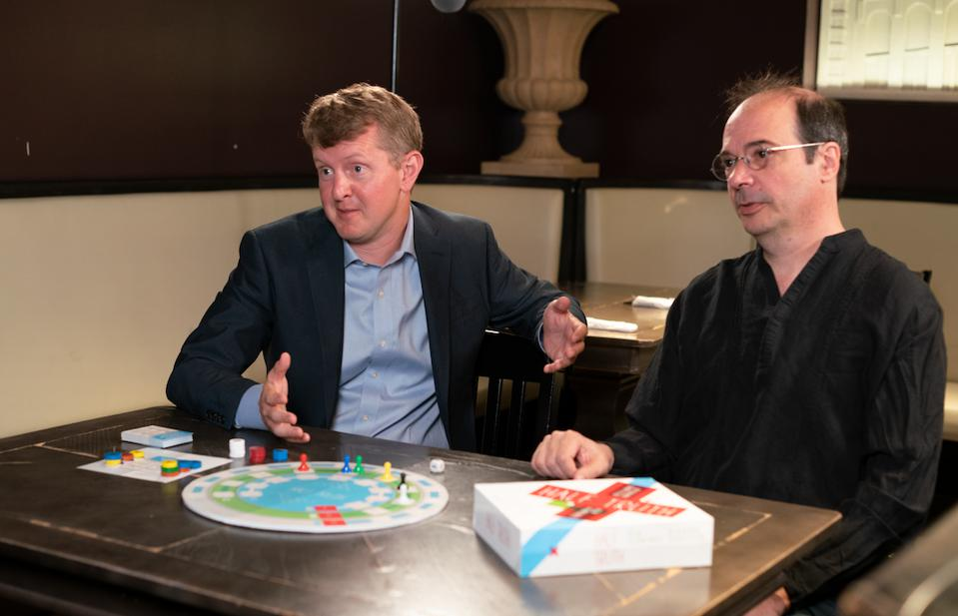 Creators Ken Jennings and Richard Garfield with Half Truth trivia card game