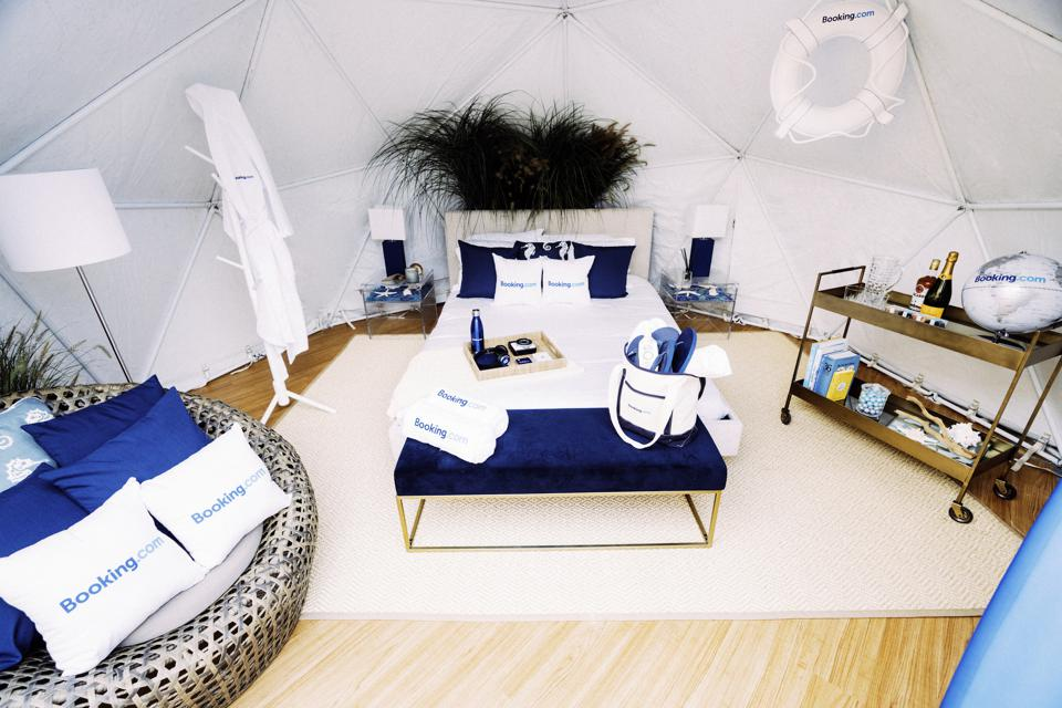 The inside of the sandcastle includes a queen bed and beach furniture.