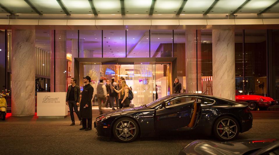 exotic cars at fairmont pacific rim valet