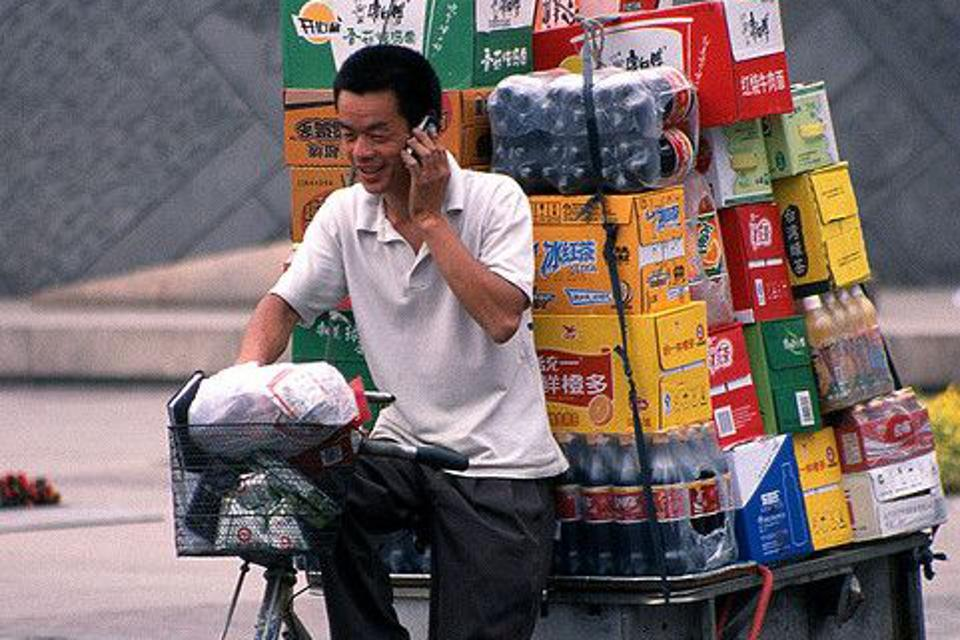A delivery person in China