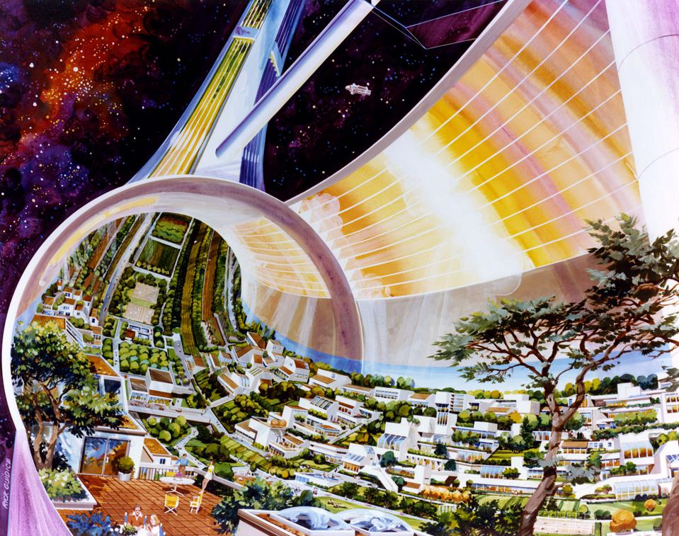 Rick Guidice, Toroidal Colonies, cutaway view exposing the interior, 1976; courtesy NASA Ames Research Center History Archives