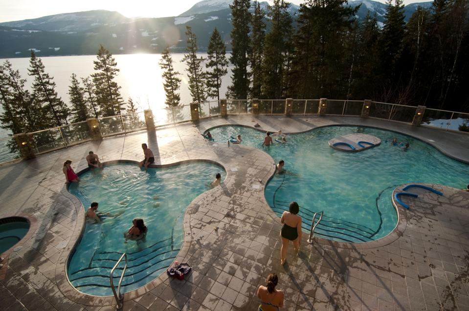 Splash around four different mineral-rich pools at Halcyon Hot Springs.