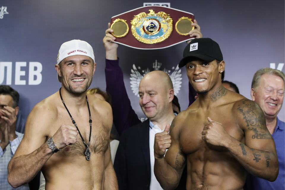Sergey Kovalev and Anthony Yarde weigh-in before WBO light heavyweight title fight in Chelyabinsk