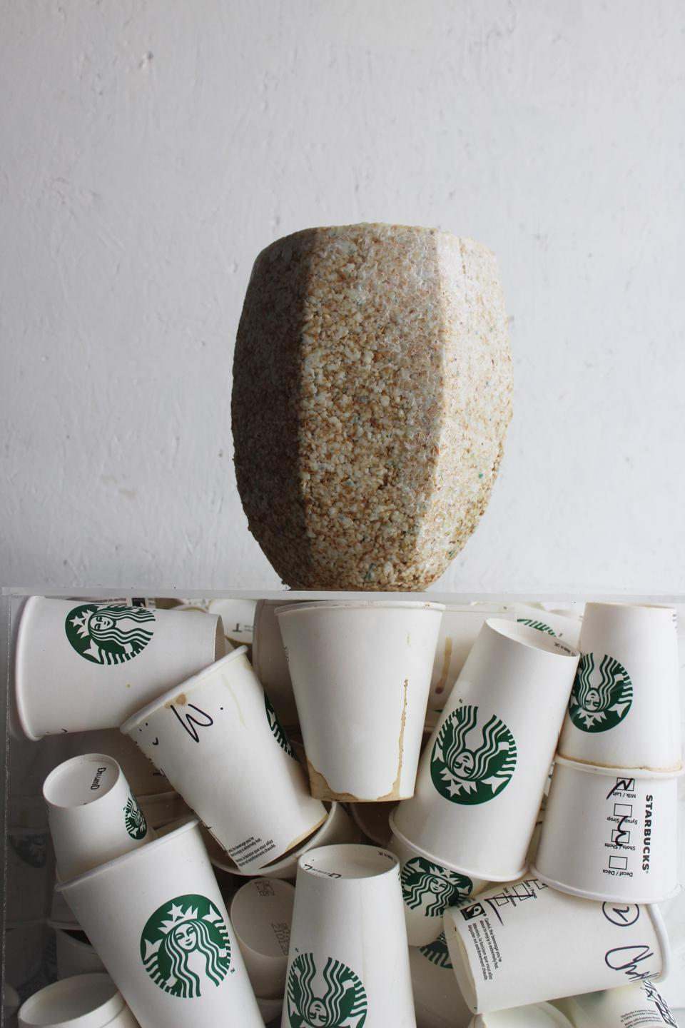 Vase made from Starbucks cup waste