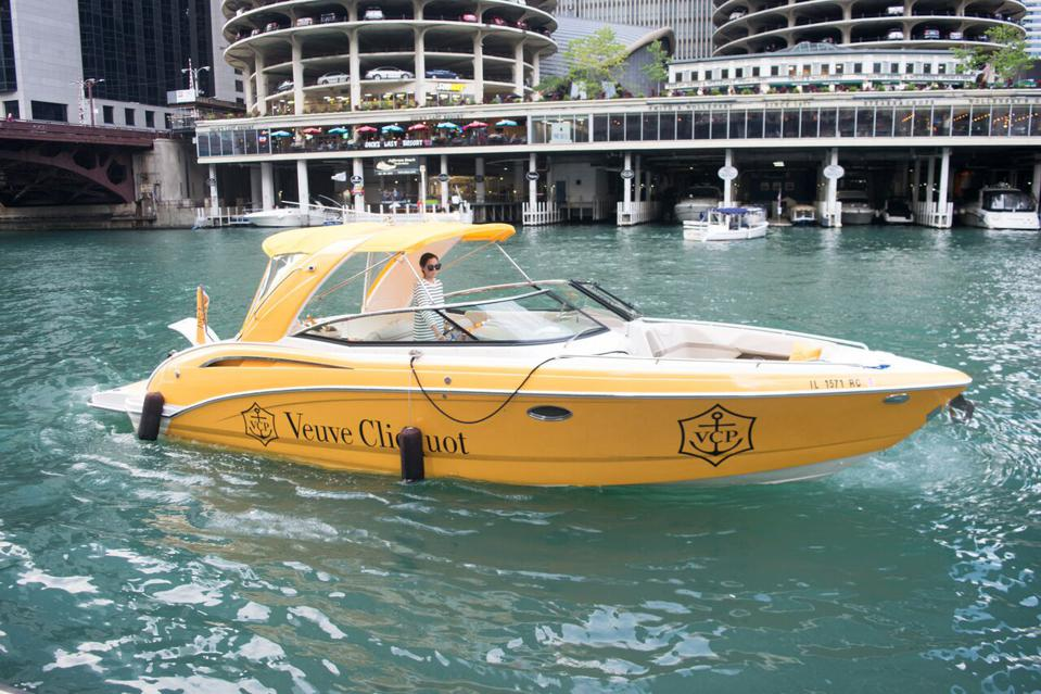 Yellow Veuve Cliquot boat on the Chicago River.