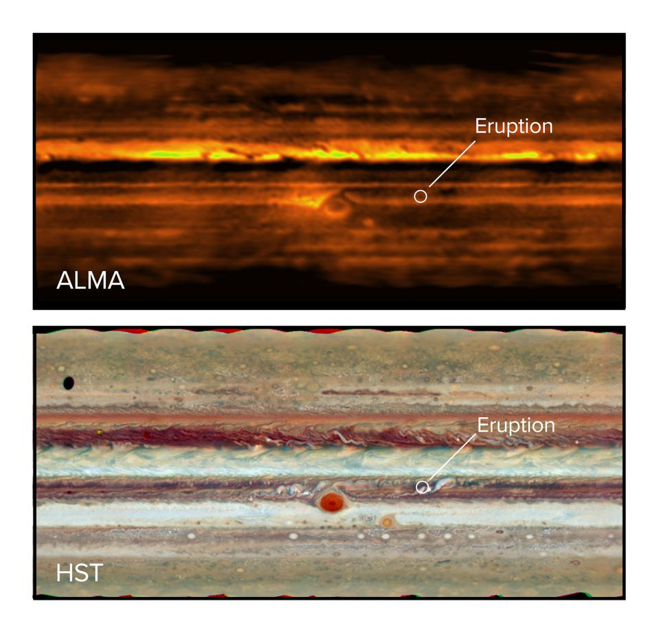 Flat map of Jupiter in radio waves with ALMA (top) and visible light with the Hubble Space Telescope (bottom). The eruption in the South Equatorial Belt is visible in both images