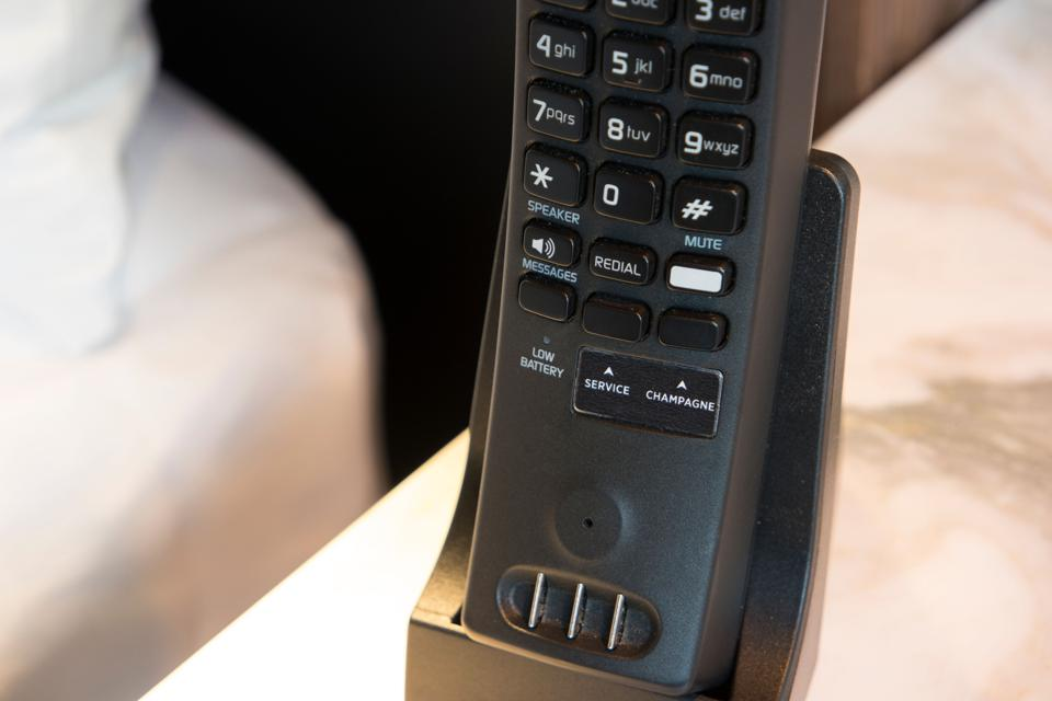 Phone with a champagne button.
