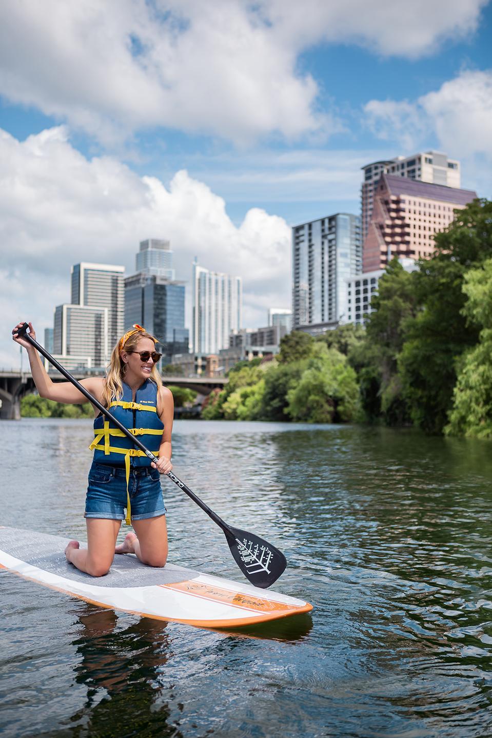 Paddleboarding in Austin.
