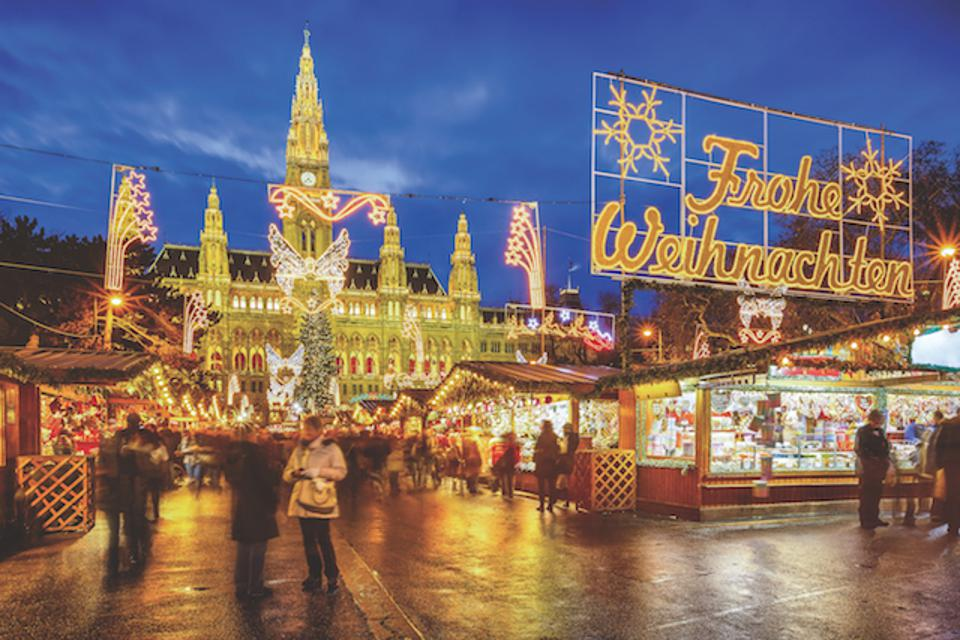 A traditional Christmas market in Vienna