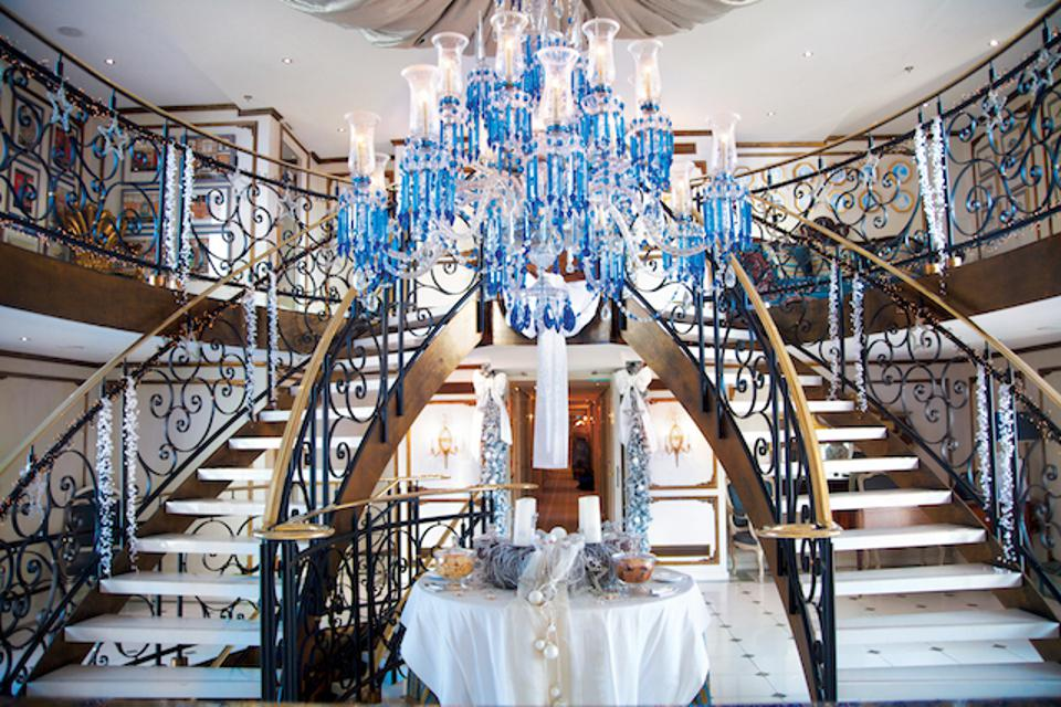 A decorated staircase on a Uniworld River Cruise