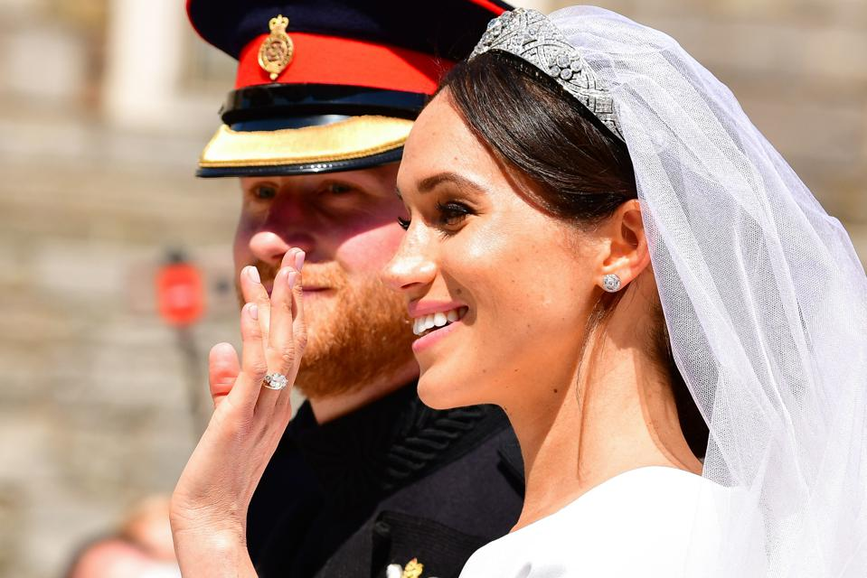 The Duchess of Sussex and her ethical engagement ring on her wedding day.