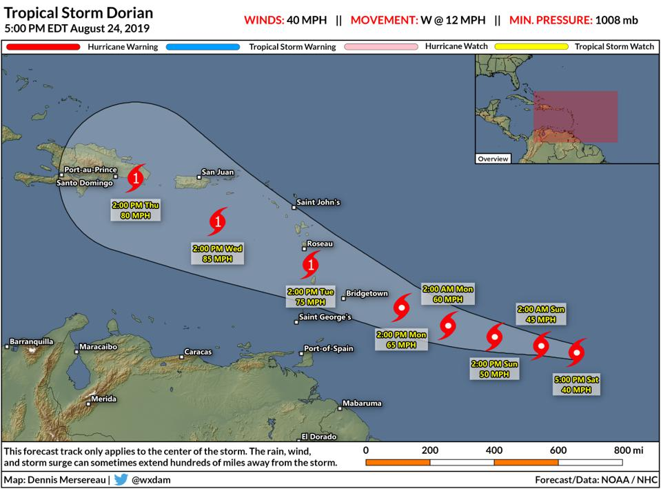 Tropical Storm Dorian Could Become A Hurricane In The Caribbean Next Week