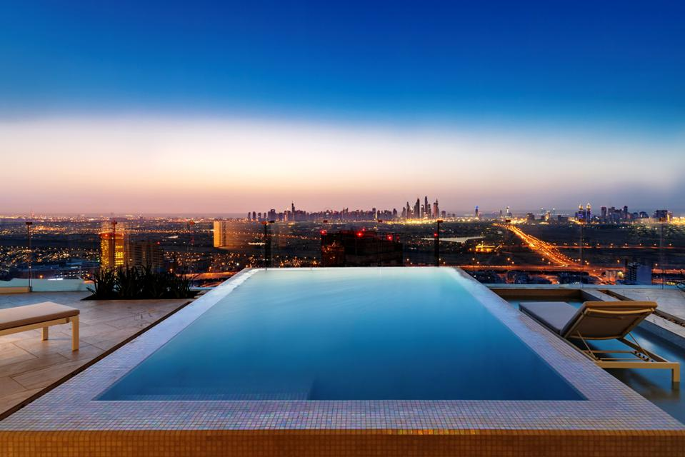 Swimming pool views from FIVE Jumeirah Village Dubai