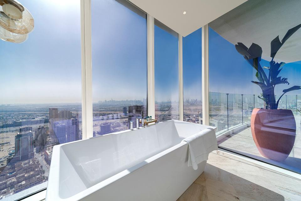Bathtub views from FIVE Jumeirah Village Dubai