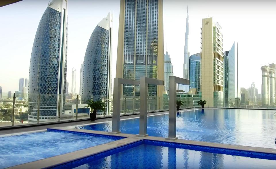 Pool views from the Gevora Hotel, Dubai