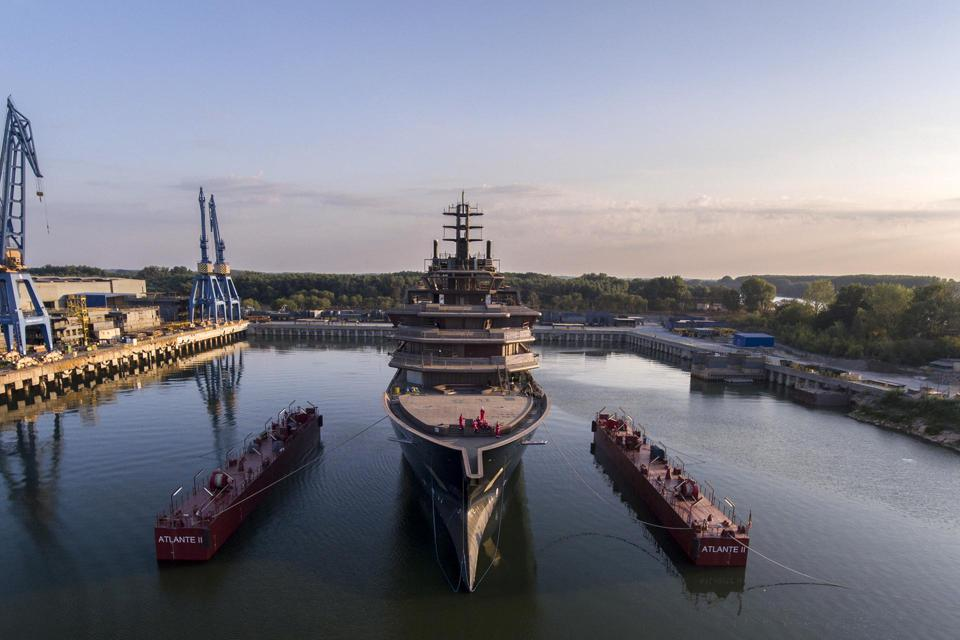 Exclusive images of the 600-foot-long REV superyacht launch in Romania in August 2019.
