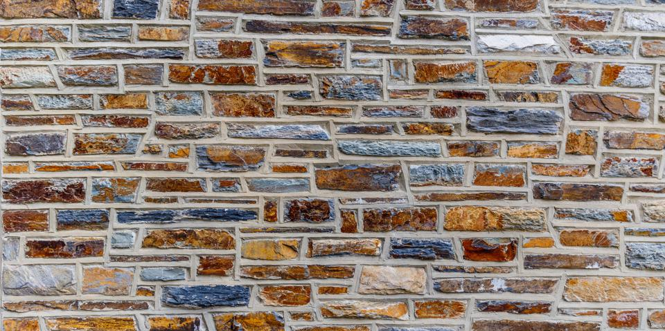 A colorful example of Slate, a metamorphic rock used as the building source for Duke University.