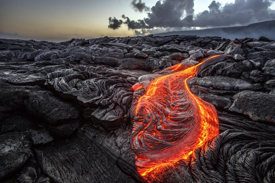 Basalt lava flow in Hawaii, a perfect example of an extrusive igneous rock.
