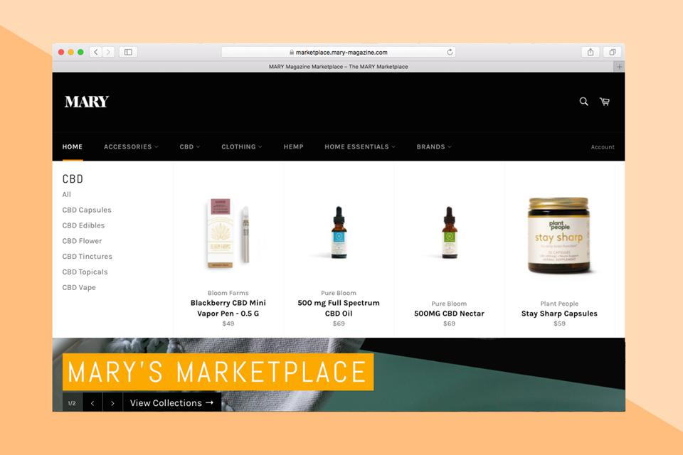 A selection of products for sale on MARY Marketplace.