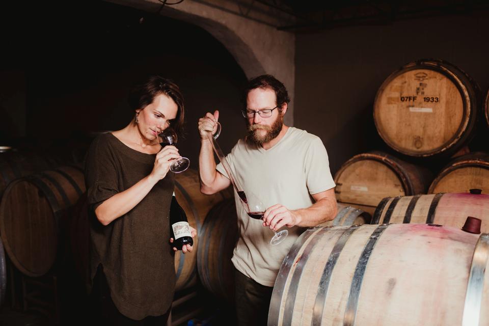 Matthew Spaccarelli and Casey Erdmann of Fjord Vineyards.