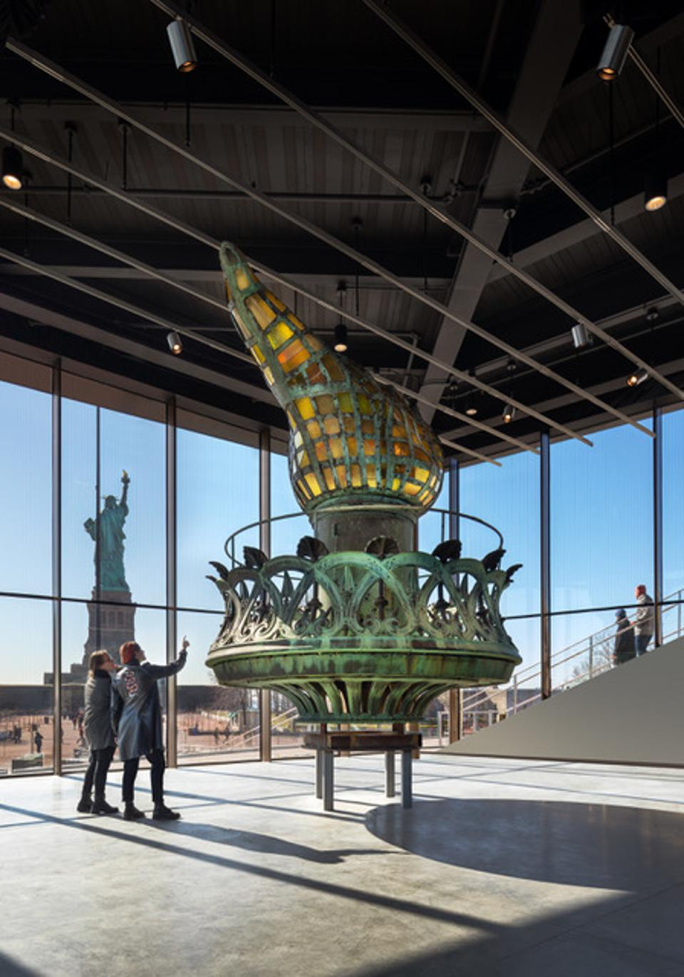 Liberty's torch in the new Statue of LIberty Museum