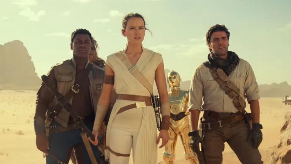 John Boyega, Daisy Ridley, Anthony Daniels and Oscar Isaac in 'Star Wars: The Rise of Skywalker'