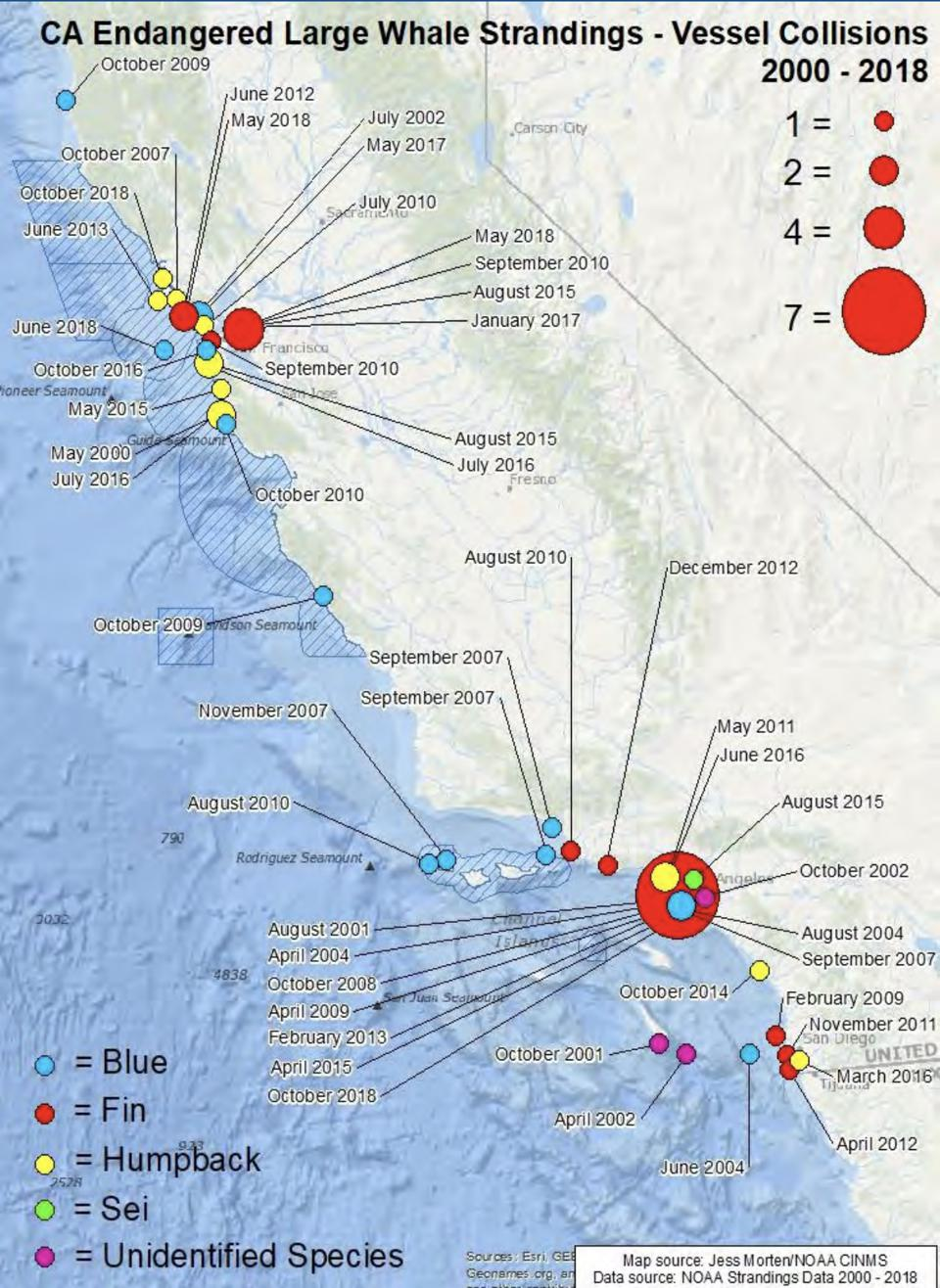 Map of endangered whale strandings caused by vessel collisions between 2000 and 2018 along the California coast.