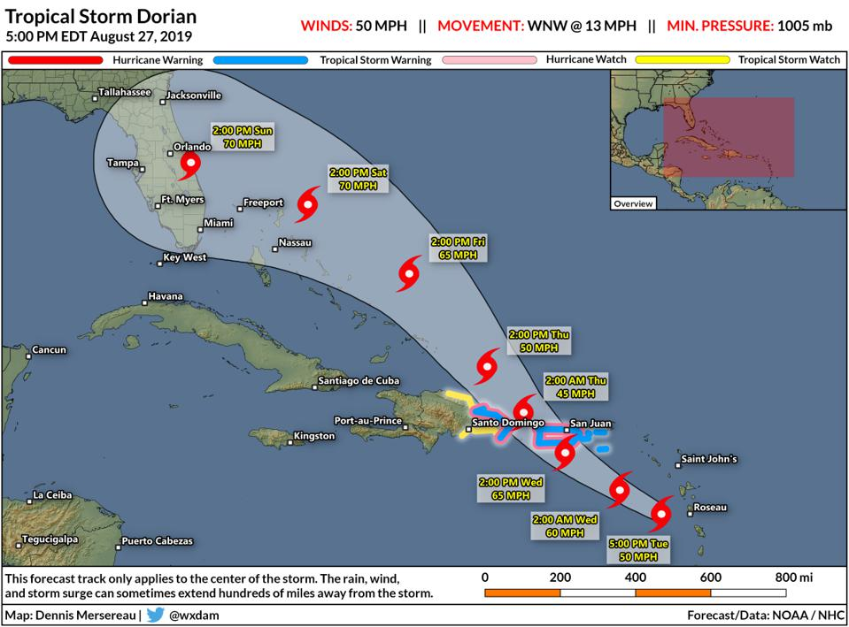 The National Hurricane Center's forecast for Tropical Storm Dorian on August 27, 2019.